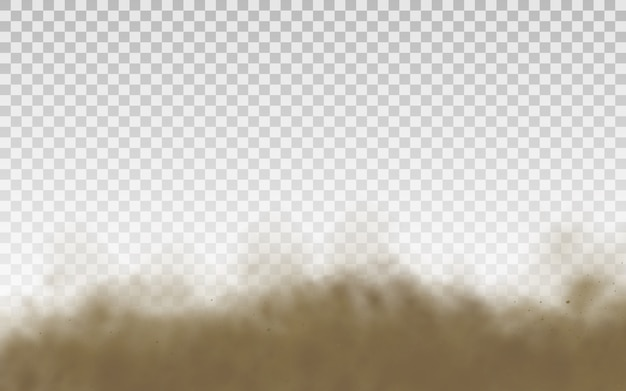 Latający piasek. chmura kurzu. brązowy zakurzony piasek latający z podmuchem wiatru.
