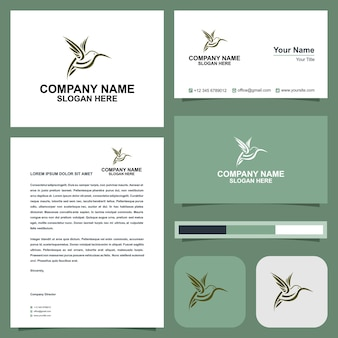 Latający ptak logo elegancki wektor premium