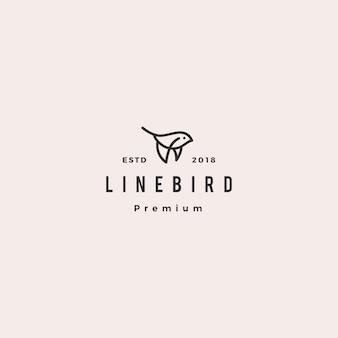 Latający ptak logo hipster retro starodawny linia zarys monoline