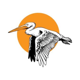 Latający ptak pelikan w stylu rysować ręka