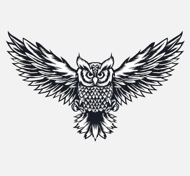 Latający ptak sowa ilustracja