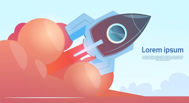 Latający rakietowy biznes startowy koncepcja transparent z miejsca na kopię