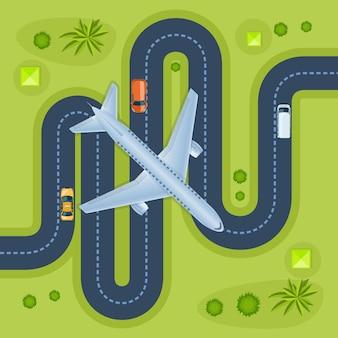 Latający samolot do lądowania nad ruchem autostrady widok z góry. skrzydło lotnicze transportuje nowoczesną infrastrukturę drogową miasta z poruszającymi się samochodami. międzynarodowe linie lotnicze przeznaczenia przemysłowego miasta krajobraz płaski wektor