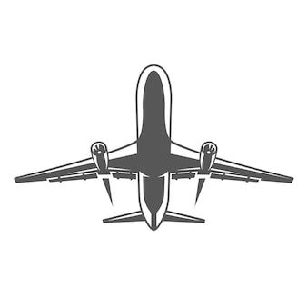 Latający samolot na białym tle