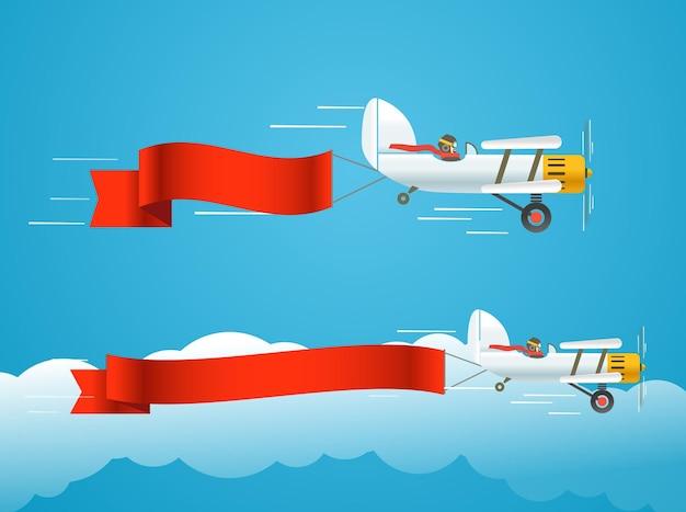 Latający samolot vintage z banerami. szablon tekstu