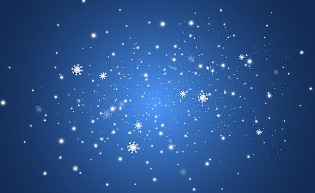 Latający śnieg na przezroczystym tle. naturalne zjawisko opadów śniegu.