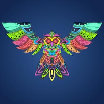 Latający sowa kolorowy pop-art