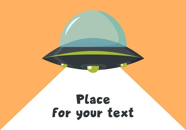 Latający statek kosmiczny nlo w płaskiej konstrukcji. kosmiczny statek kosmiczny w stylu cartoon. ufo na białym tle na tle. futurystyczny nieznany obiekt latający. miejsce ilustracji dla tekstu.