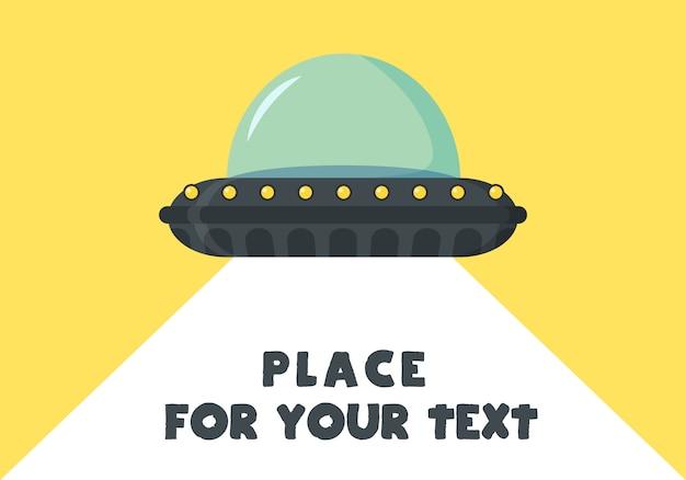 Latający statek kosmiczny ufo w płaskiej konstrukcji. obcy statek kosmiczny w stylu cartoon. ufo na białym tle na tle. futurystyczny nieznany obiekt latający. miejsce ilustracji dla tekstu.