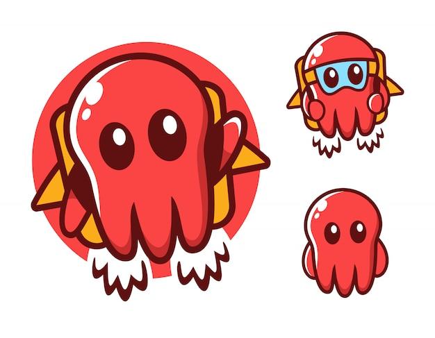 Latający szablon projektu logo octopus