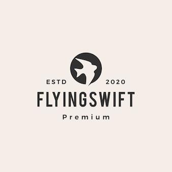 Latający szybki ptak vintage logo