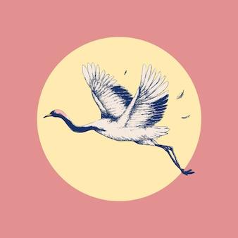 Latający żuraw nad słońcem vintage wall art print remix z oryginalnych dzieł sztuki.