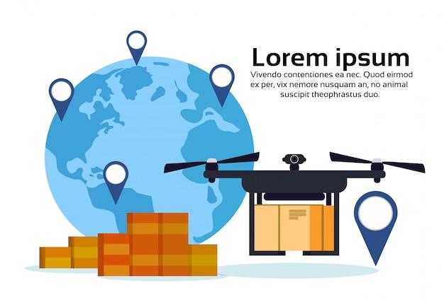 Latanie dronem dostawa powietrza pakiet mapa świata geo tag lokalizacja międzynarodowa przesyłka