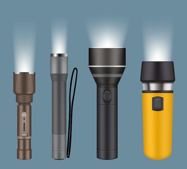 Latarki. elektryczne poręczne latarki na kempingowe nocne wyszukiwanie lampy wektorowej realistycznej kolekcji. ilustracja latarka elektryczna z baterią, przenośna lampa punktowa