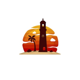 Latarni morskiej plaży wyspy widoku wektoru sztuka
