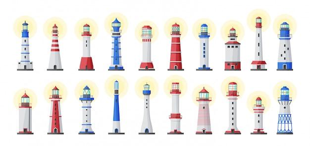 Latarni morskiej wektor kreskówka zestaw ikon. ilustracja wektorowa oceanu latarnia. na białym tle kreskówka ikona światło latarni morskiej.