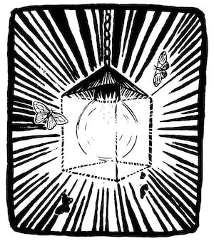 Latarnia i nocne motyle. obraz w stylu szkicu. drukuje projekt. koncepcja filozoficzna. ręcznie rysowane ilustracji wektorowych. grafika w stylu retro znaczek.