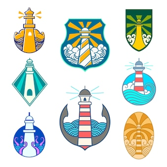 Latarnia morska emblemat logo wektor zestaw