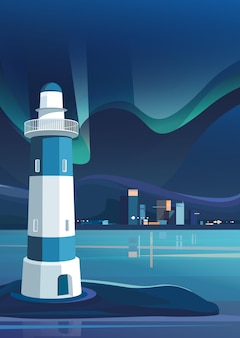 Latarnia morska i miasto nocą. pejzaż miejski z zorzą polarną w orientacji pionowej.