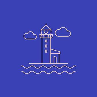 Latarnia morska, ikona wektor linii beacon