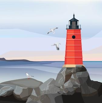 Latarnia morska krajobraz morze. ocean lub woda morska z nocną nawigacją bezpieczeństwa buduje na skały kreskówce
