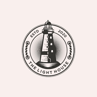 Latarnia morska logo szablon ilustracji