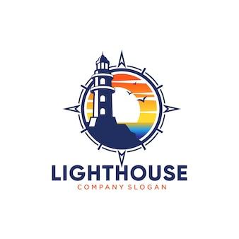 Latarnia morska logo szablon projektu ilustracja