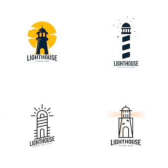Latarnia morska logo wektor zestaw