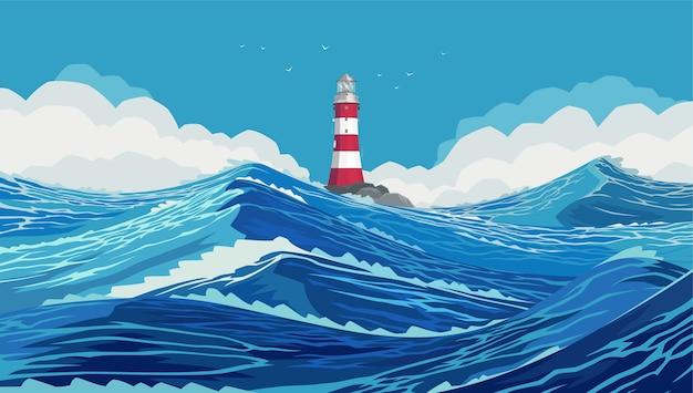 Latarnia morska na kamiennym brzegu w surowym oceanie. faliste i piękne morze. szaleje ocean spokojny. duże i mocne niebieskie fale. szalejące fale oceanu na niebieskim morzu.