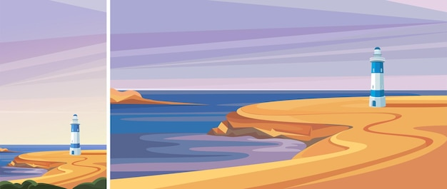 Latarnia morska nad morzem. piękny krajobraz w orientacji pionowej i poziomej.