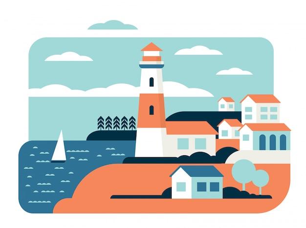 Latarnia morska oceanu cudownego krajobrazu płaska wektorowa ilustracja