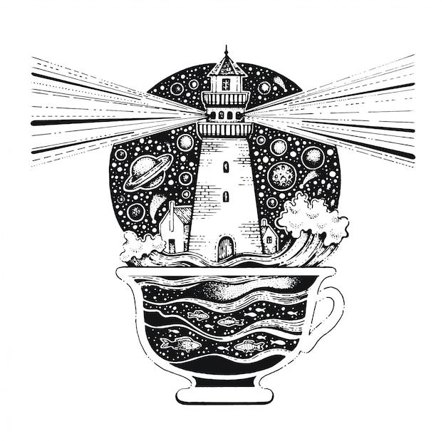 Latarnia morska w filiżance kawy czarna grafika liniowa. szkic w stylu vintage do nadruku na koszulce lub tatuażu.