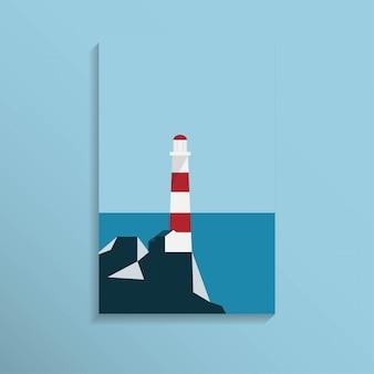 Latarnia morska w pobliżu brzegu morza z pasmem górskim w jasnym niebieskim kolorze