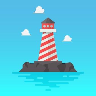 Latarnia morska w stylu płaskiej. ilustracji wektorowych