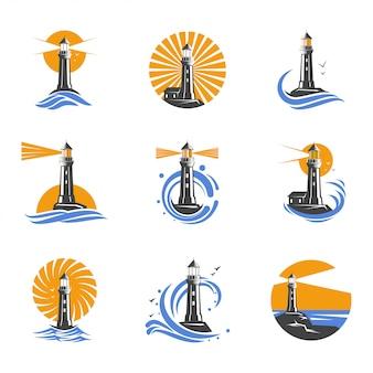 Latarnia morska wśród fal morskich wektorowe ikony