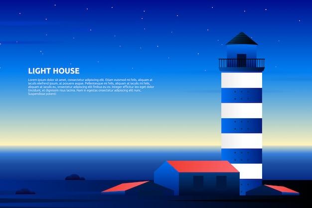 Latarnia morska z wieczorem zachód słońca i fioletowe niebo krajobraz ilustracji