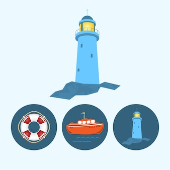 Latarnia morska. zestaw z 3 okrągłymi kolorowymi ikonami, pomarańczową łodzią z flagą i falami, koło ratunkowe, latarnia morska, ilustracja wektorowa
