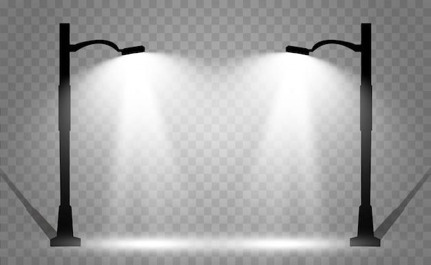 Latarnia w tle. jasna, nowoczesna lampa uliczna. ilustracja. piękne światło z latarni ulicznej.