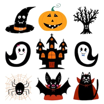 Latarnia z dyni, kapelusz czarownicy, suche drzewo, duch, zamek, nietoperz, kot, pająk. zestaw znaków halloween.