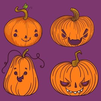 Latarnia z dyni różnego typu, straszna halloween