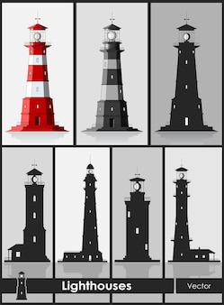 Latarnie morskie. zestaw ogromnych latarni morskich na szarym tle. ilustracja wektorowa.