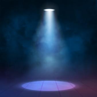 Latarniowy reflektor iluminacyjny oświetla drewnianą scenę