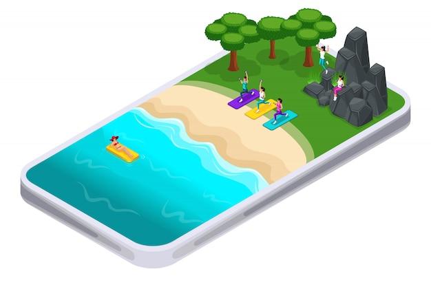 Latem, sport, aplikacja na smartfony, aby znaleźć miejsce do treningu sportowego, nad morzem, piękne dziewczyny są zaangażowane w fitness