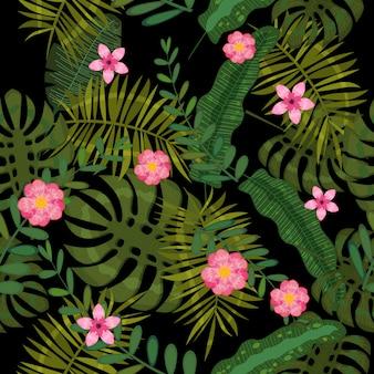 Lato bez szwu egzotycznych kwiatów tropikalnych palm, liści bananowca.