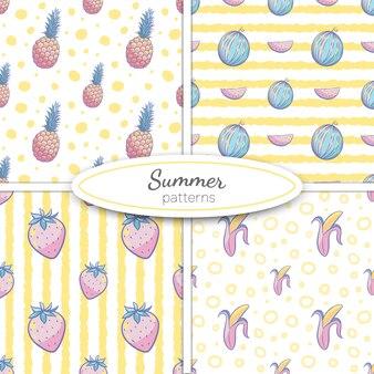 Lato bez szwu wzorów z ananasem, arbuzem, bananem, truskawkami w pastelowych kolorach na tle żółty pasek i kropki. ilustracja