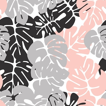 Lato bezszwowy tropikalny wzór z kolorowymi monstera palmowymi liśćmi na białym tle