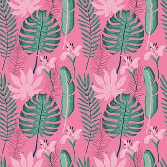 Lato bezszwowy wzór z palmowymi liśćmi.