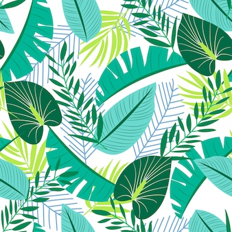 Lato bezszwowy wzór z tropikalnymi roślinami
