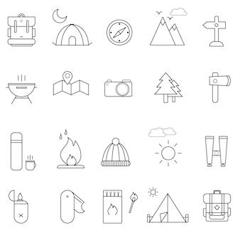 Lato camping ikona ustawiająca na białym tle