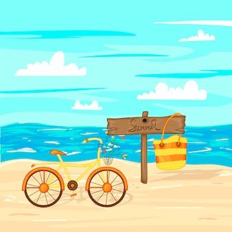 Lato drewniany znak z miejscem dla teksta na tle piasek i morze.